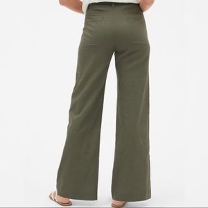 Gap Tie Belt Wide Leg Pant Baby Tweed Olive